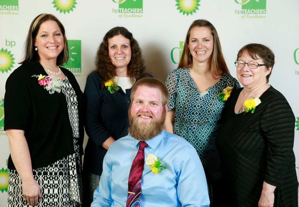 2016 KPBSD BP Teachers of Excellence L-R, Darilynn Caston, Redoubt Elementary; Sharon Hopkins, Tustumena Elementary; Nickole Lyon, Seward Elementary; Patti Truesdell, Hope School; James Knoebel, Soldotna High School