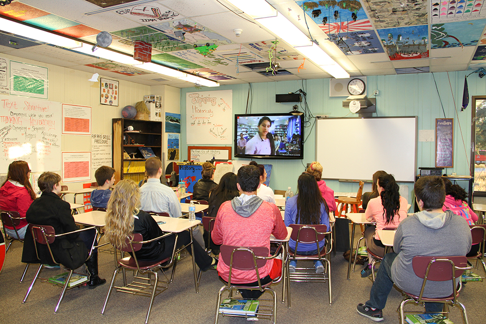 Educator Greg Zorbas, Kenai Central High School, videoconference in Classroom Without Walls (CWOW), and Global Nomads, May 13, 2015, 6:00 AM