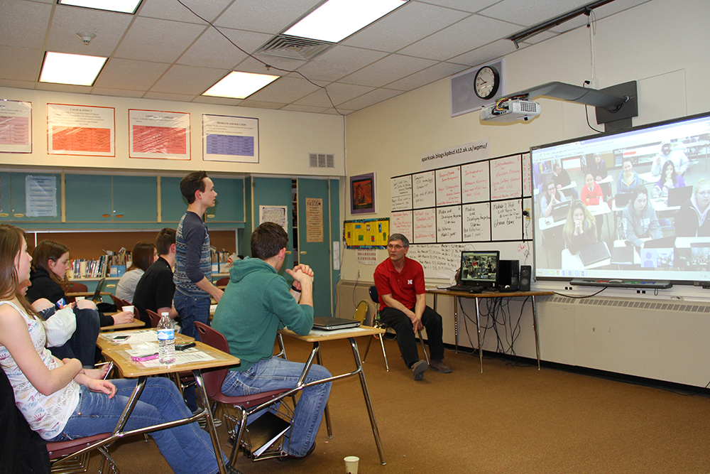 Educator Rob Sparks, Soldotna Prep, video teleconference (VTC) certificate students with KCHS and students in Palestine, April 11, 2016, 8:00 PM
