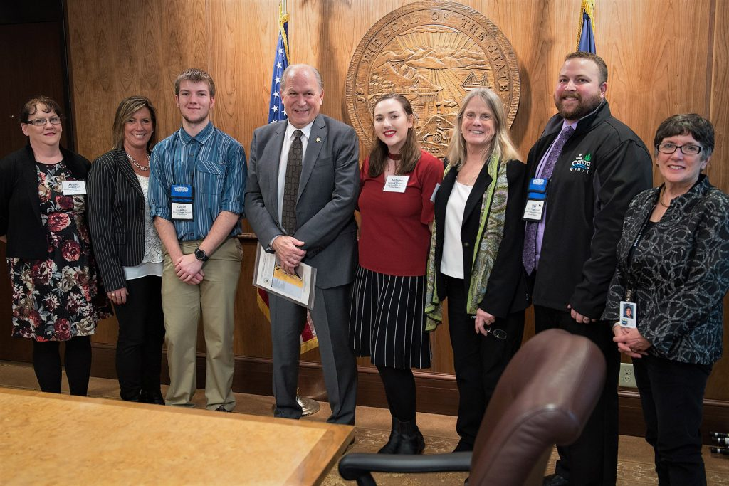 Governor Bill Walker meets with the Kenai Peninsula Borough School District in the Cabinet Room at the State Capitol in Juneau, Alaska, February 12, 2018.  David Lienemann/Office of the Governor