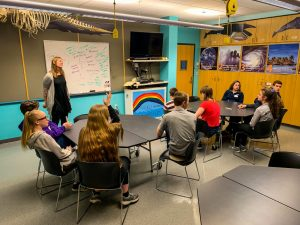 """Seward's Micheley Kowalski-Stewart leads a breakout session """"Coping with Stress.""""  2019 Borough-Wide Student Council Meeting."""